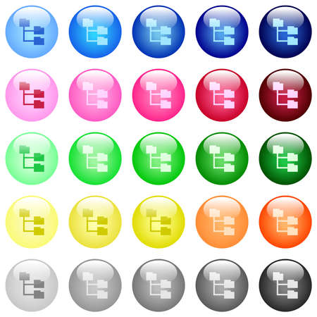 Folder structure icons in set of 25 color glossy spherical buttons Illustration
