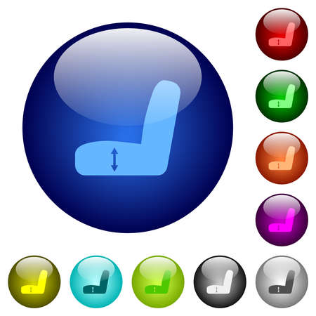Car seat adjustment icons on round glass buttons in multiple colors. Arranged layer structure
