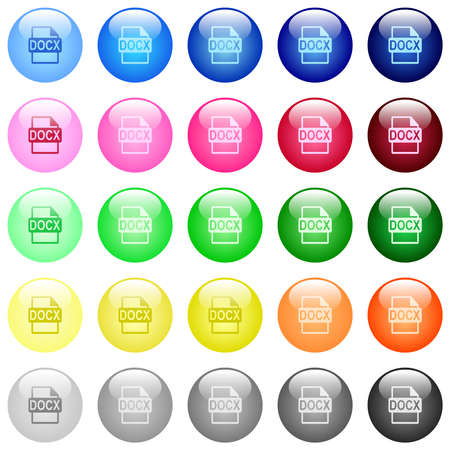 DOCX file format icons in set of 25 color glossy spherical buttons Illustration