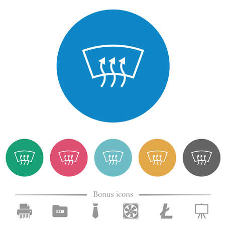 Windshield defrost flat white icons on round color backgrounds. 6 bonus icons included.