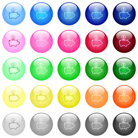 Dollar piggy bank icons in set of 25 color glossy spherical buttons Illustration