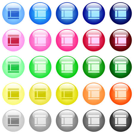 Two columned web layout icons in set of 25 color glossy spherical buttons Illustration