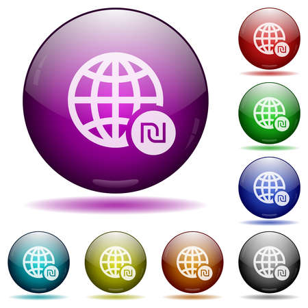 Online Shekel payment icons in color glass sphere buttons with shadows