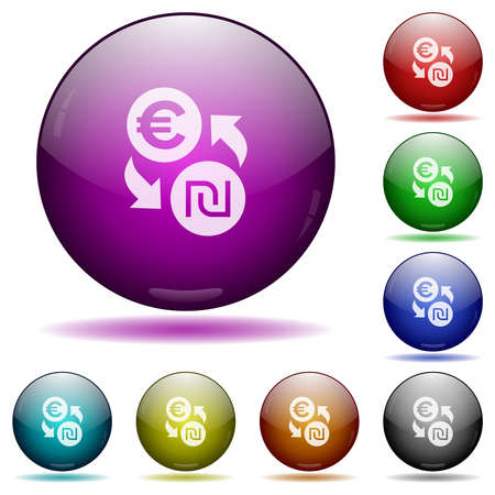 Euro new Shekel money exchange icons in color glass sphere buttons with shadows