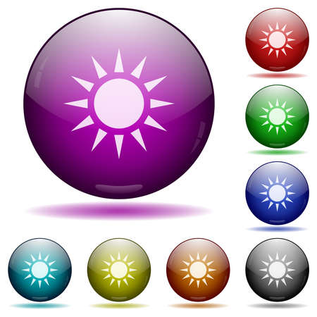 Sun icons in color glass sphere buttons with shadows