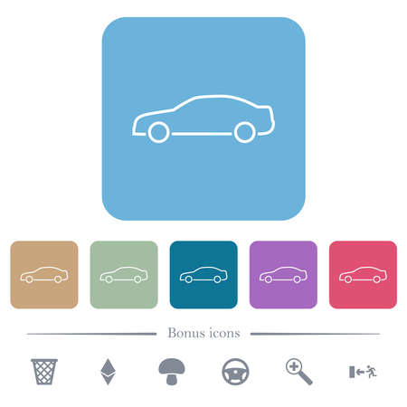 Car contour white flat icons on color rounded square backgrounds. 6 bonus icons included