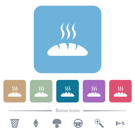 Fresh bread white flat icons on color rounded square backgrounds. 6 bonus icons included