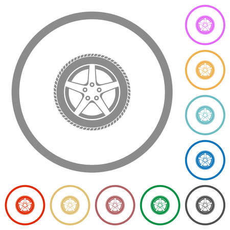 Car wheel flat color icons in round outlines on white background 矢量图像