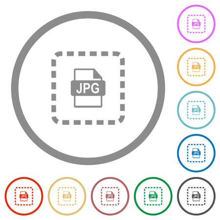 Place jpg file flat color icons in round outlines on white background