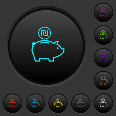 Israeli new Shekel piggy bank dark push buttons with vivid color icons on dark gray background