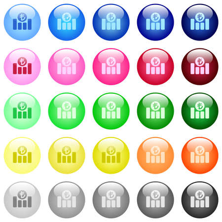 Turkish Lira financial graph icons in set of 25 color glossy spherical buttons
