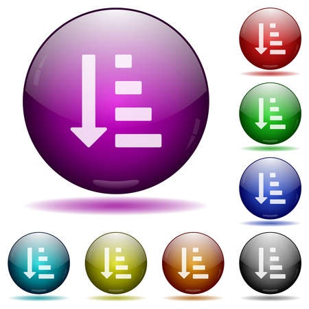 Ascending ordered list mode icons in color glass sphere buttons with shadows