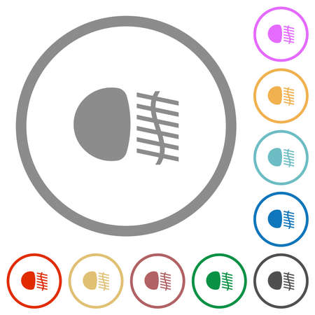 Fog lights flat color icons in round outlines on white background