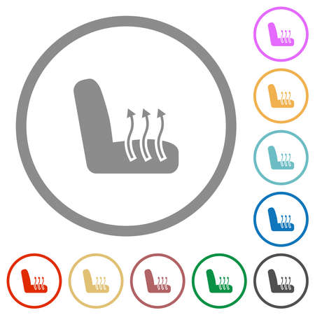 Car seat heating flat color icons in round outlines on white background 矢量图像