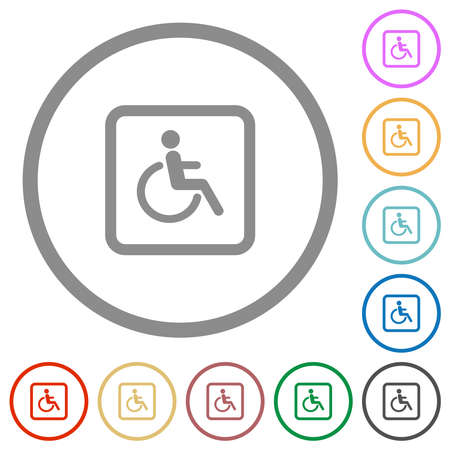 Handicapped parking flat color icons in round outlines on white background