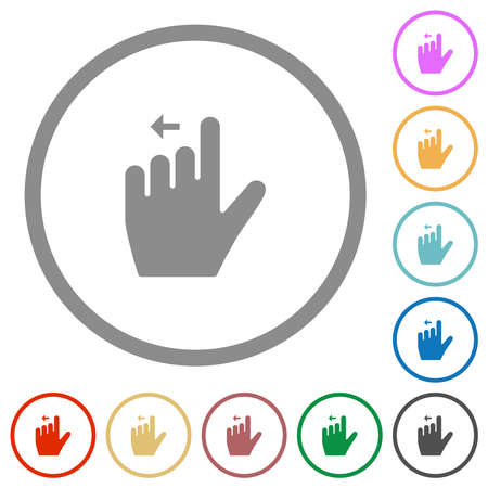 Left handed move left gesture flat color icons in round outlines on white background