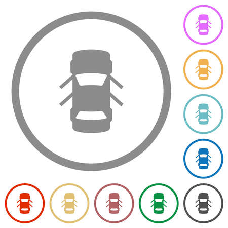 Car open doors dashboard indicator flat color icons in round outlines on white background 矢量图像