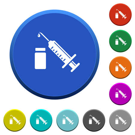Syringe with ampoule round color beveled buttons with smooth surfaces and flat white icons