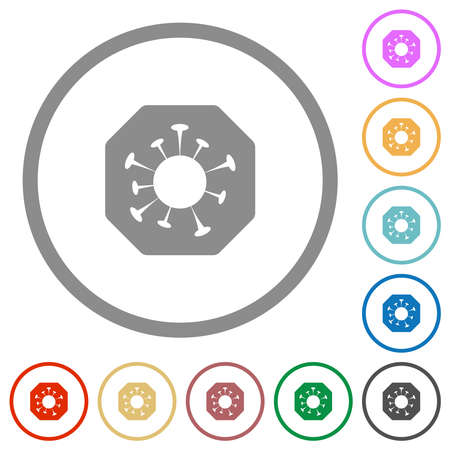 Stop covid flat color icons in round outlines on white background 矢量图像