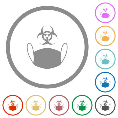 Face mask and biohazard symbol flat color icons in round outlines on white background 矢量图像