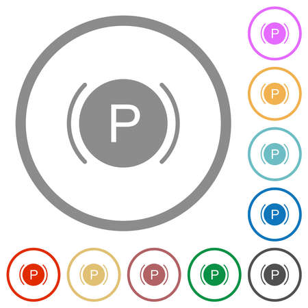 Car dashboard brake warning indicatorflat color icons in round outlines on white background