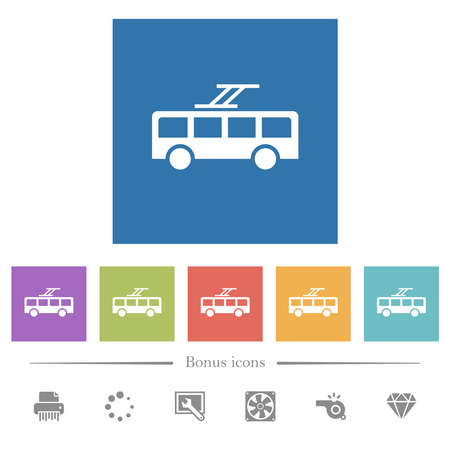 Trolley bus flat white icons in square backgrounds. 6 bonus icons included.