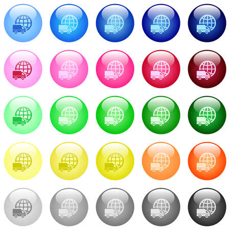 International transport icons in set of 25 color glossy spherical buttons
