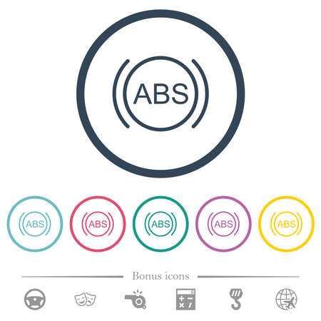 Car anti lock braking system indicator flat color icons in round outlines. 6 bonus icons included.