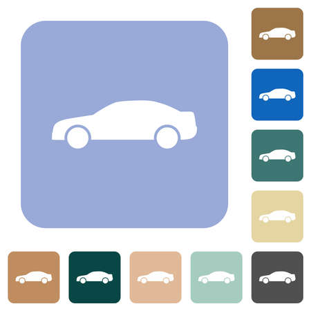 Car contour white flat icons on color rounded square backgrounds
