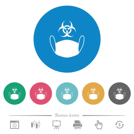 Face mask and biohazard symbol flat white icons on round color backgrounds. 6 bonus icons included.