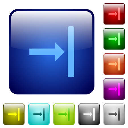 Align to right icons in rounded square color glossy button set