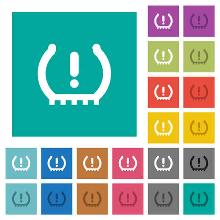 Car tire pressure warning indicator multi colored flat icons on plain square backgrounds. Included white and darker icon variations for hover or active effects.