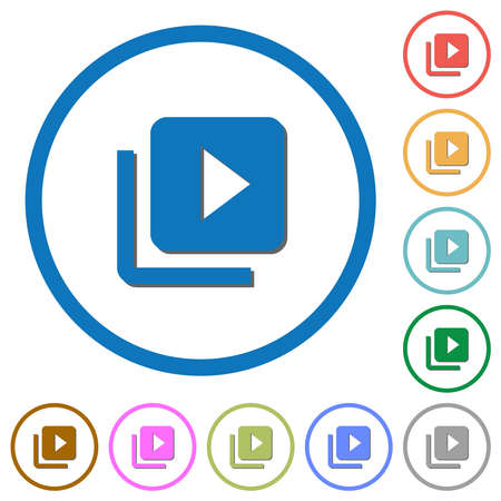 Video library flat color vector icons with shadows in round outlines on white background