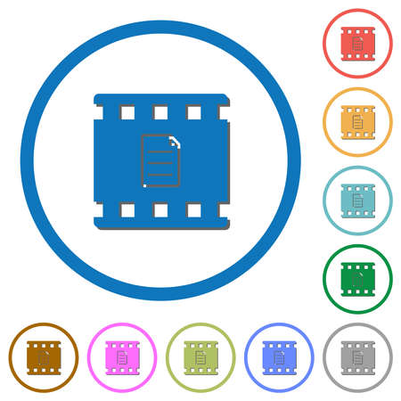 Movie details flat color vector icons with shadows in round outlines on white background