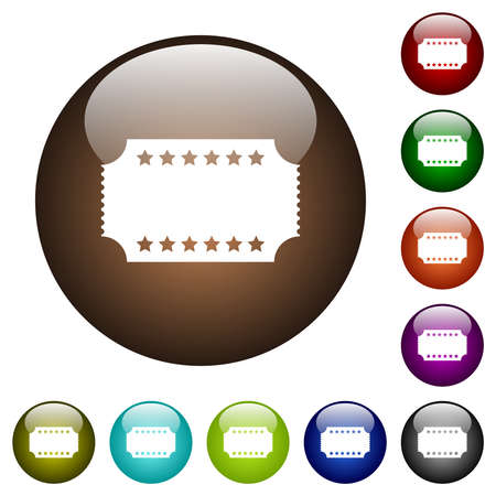Ticket with stars white icons on round glass buttons in multiple colors