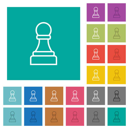 White chess pawn multi colored flat icons on plain square backgrounds. Included white and darker icon variations for hover or active effects.