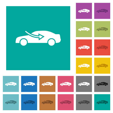 car airflow adjustment external multi colored flat icons on plain square backgrounds. Included white and darker icon variations for hover or active effects. Vettoriali