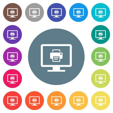 Print screen flat white icons on round color backgrounds. 17 background color variations are included.