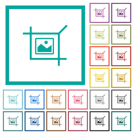 Crop picture flat color icons with quadrant frames on white background Vettoriali