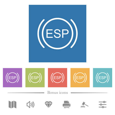 Car electronic stability program indicator flat white icons in square backgrounds. 6 bonus icons included.
