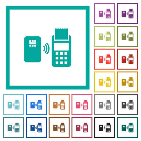 Contactless payment flat color icons with quadrant frames on white background