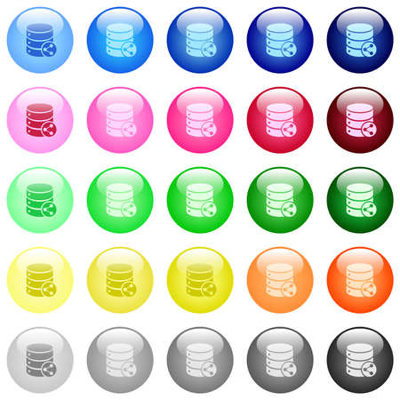 Database table relations icons in set of 25 color glossy spherical buttons