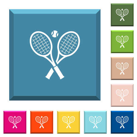 Tennis rackets with ball white icons on various trendy colors