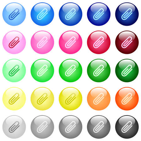 Attachment icons in set of 25 color glossy spherical buttons Vektoros illusztráció