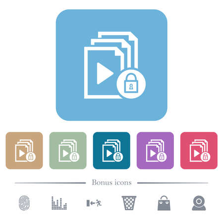 Lock playlist white flat icons on color rounded square backgrounds. 6 bonus icons included Ilustração