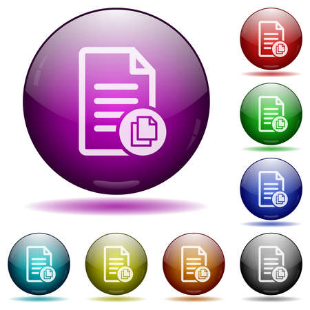 Copy document icons in color glass sphere buttons with shadows