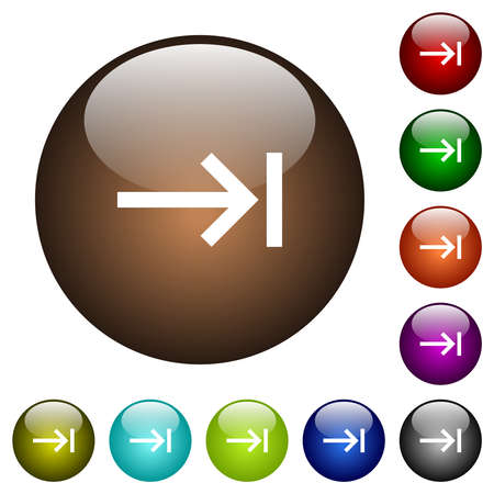 Keyboard tab white icons on round glass buttons in multiple colors