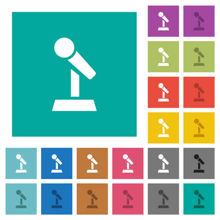 Microphone with stand multi colored flat icons on plain square backgrounds. Included white and darker icon variations for hover or active effects.