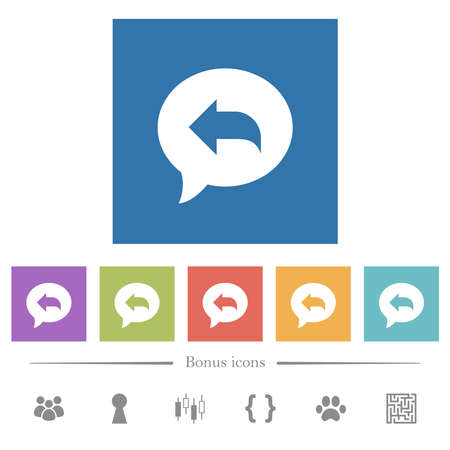 Reply message flat white icons in square backgrounds. 6 bonus icons included. Stock Illustratie