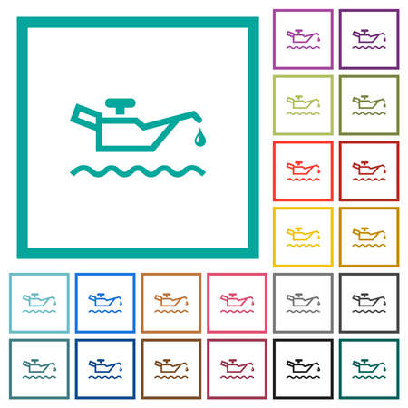 Oil level indicator flat color icons with quadrant frames on white background